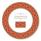 Vintage Round Retro Frame dot line cross tracery. Antique style template ideal for invitation or greeting card design Stock Images