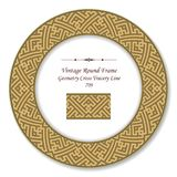 Vintage Round Retro Frame geometry cross tracery line. Antique style template ideal for invitation or greeting card design Royalty Free Stock Image