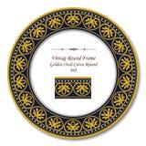 Vintage Round Retro Frame 048 Golden Oval Curve Round Stock Image