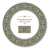 Vintage Round Retro Frame 205 Green Lace Spiral. Antique retro abstract round frame and background can be used for wallpaper, web page background, surface Stock Images