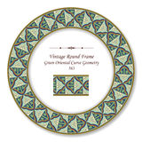 Vintage Round Retro Frame Green Oriental Curve Gold Line Geometr Stock Photography