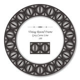 Vintage Round Retro Frame 189 Grey Curve Line. Antique retro abstract round frame and background can be used for wallpaper, web page background, surface textures Royalty Free Stock Photos