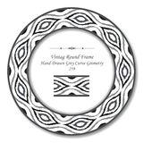 Vintage Round Retro Frame 239 Hand Drawn Grey Curve Geometry Royalty Free Stock Photography