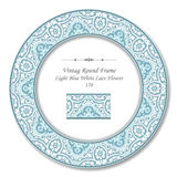 Vintage Round Retro Frame 170 Light Blue White Lace Flower Royalty Free Stock Images