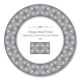 Vintage Round Retro Frame 365 Light Grey Curve Cross Line Flower Royalty Free Stock Photography
