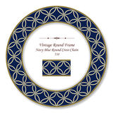 Vintage Round Retro Frame Navy Blue Round Cross Chain Stock Image