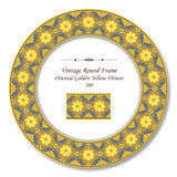 Vintage Round Retro Frame 380 Oriental Golden Yellow Flower Stock Photography