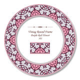 Vintage Round Retro Frame 103 Purple Red Flowerr Royalty Free Stock Photography