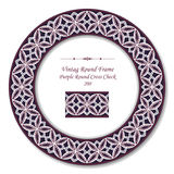 Vintage Round Retro Frame 200 Purple Round Cross Check Stock Image