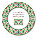 Vintage Round Retro Frame 083 Red Flower Green Calyx Stock Images