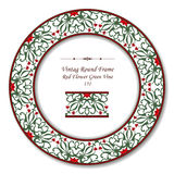 Vintage Round Retro Frame 131 Red Flower Green Vine Stock Photography