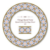 Vintage Round Retro Frame 403 Round Circle Cross Ring Flower Royalty Free Stock Photography