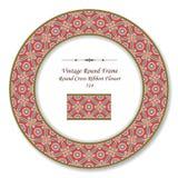 Vintage Round Retro Frame 514 Round Cross Ribbon Flower Stock Image