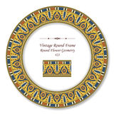 Vintage Round Retro Frame 421 Round Flower Geometry Royalty Free Stock Image
