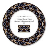 Vintage Round Retro Frame sawtooth edge aboriginal geometry stit. Ch, antique style template ideal for invitation or greeting card design royalty free illustration