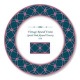 Vintage Round Retro Frame spiral pink curve tracery. Antique style template ideal for invitation or greeting card design Royalty Free Stock Photography