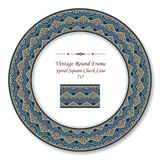 Vintage Round Retro Frame spiral square check tracery line. Antique style template ideal for invitation or greeting card design Royalty Free Stock Photo
