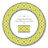 Vintage Round Retro Frame 412 Yellow Blue Cross Line Flower Stock Image