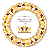 Vintage Round Retro Frame 126 Yellow Flower Vine Royalty Free Stock Photography
