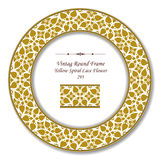 Vintage Round Retro Frame 295 Yellow Spiral Lace Flower Stock Photography
