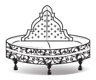 Vintage round sofa ornamented. Vector illustration  on white background. Vintage Gothic style furniture. Hermitage decorated collection Stock Photo