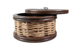 Vintage round wicker case. Vintage round wooden and wicker decorative case Royalty Free Stock Photos