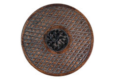 Vintage round wicker case. Vintage round wooden and wicker decorative case Royalty Free Stock Photography