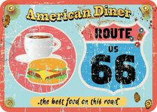 Vintage route 66 diner sign, Royalty Free Stock Photo