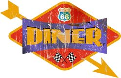 Vintage route 66 diner sign, Stock Image