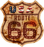 Vintage route 66 ,metal sign Royalty Free Stock Image