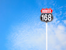 Vintage route 168 road  sign and blue sky Stock Photography