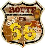 Vintage route 66 road sign, Royalty Free Stock Photos