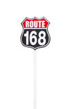 Vintage route 168 road  sign  on white background Stock Photo