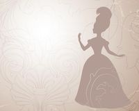 Vintage royal background. Vintage baroque background with luxuriant ornaments and queen silhouette Royalty Free Stock Photo