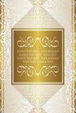 Vintage royal background, antique gold frame. Beautiful wedding card vector illustration