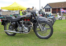 Vintage royal enfield motorbike. Photo of a vintage royal enfield bike showing at whitstable vintage bike show on 8th june 2013 Royalty Free Stock Image