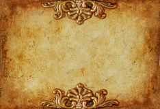Vintage royal gold horizontal background with floral ornaments Stock Images