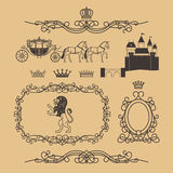 Vintage royal and princess decor elements Royalty Free Stock Photo