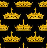 Vintage royal seamless apttern with golden crowns Royalty Free Stock Images