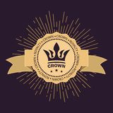 Vintage royal symbol of power and wealth. Golden rays of glory and stars. Curved ribbon for text. Vector images. stock illustration