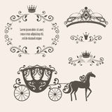 Vintage royalty frame with crown Stock Photos