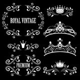 Vintage royalty frames with crowns. Floral design elements, vintage royalty frames with crowns, ornamental style diadems in white color. Vector illustration Stock Image