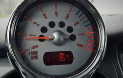 Vintage RPM Gauge. Mini cooper with vintage effect on RPM gauge Royalty Free Stock Photo