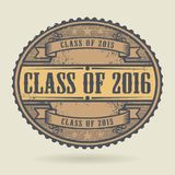 Vintage rubber stamp with the text Class of 2016 written inside. Vector illustration stock illustration