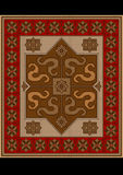 Vintage rug with ethnic pattern dragons Royalty Free Stock Images