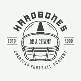 Vintage rugby and american football label, emblem or logo. Royalty Free Stock Photo