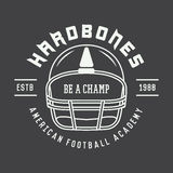 Vintage rugby and american football label, emblem or logo. Stock Image