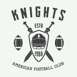 Vintage rugby and american football label, emblem or logo. Royalty Free Stock Photography