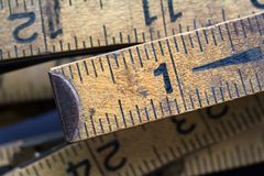 Vintage Ruler 2. Closeup of well worn vintage ruler stock photo