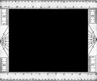 Vintage ruler border 4. Black & white frame made up of the back and front views of a vintage wooden ruler on black background Royalty Free Stock Photo